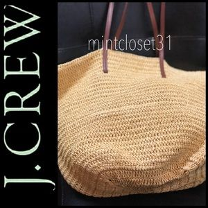 J. Crew Straw Shopper Tote Bag